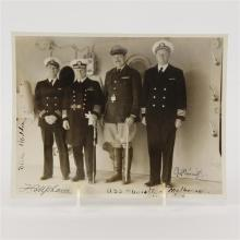 Signed military photograph, officers aboard the deck of the U.S.S. Augusta, 1934, clipping from catalog.