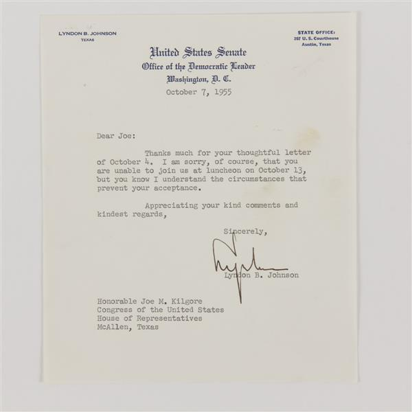 Lyndon B. Johnson, letter to Honorable Joe M. Kilgore, 1955.