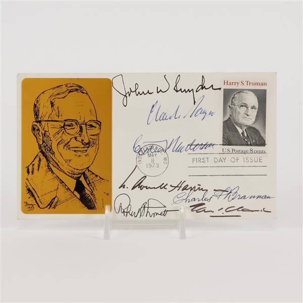 Harry S. Truman cabinet, signed card. 7 signatures.