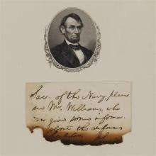 Abraham Lincoln handwritten note to the Sec. of the Navy about Union efforts to reinforce Fort Sumter just before the start of the w...