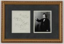 Stephen Douglas Photograph framed with signed letter.