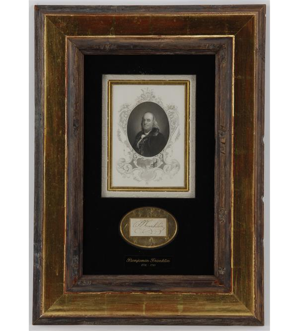 Benjamin Franklin (1706-1790) autograph signature in antique frame.