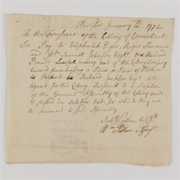 Roger Sherman, letter, only person to sign all four founding documents of the United States, 1772.