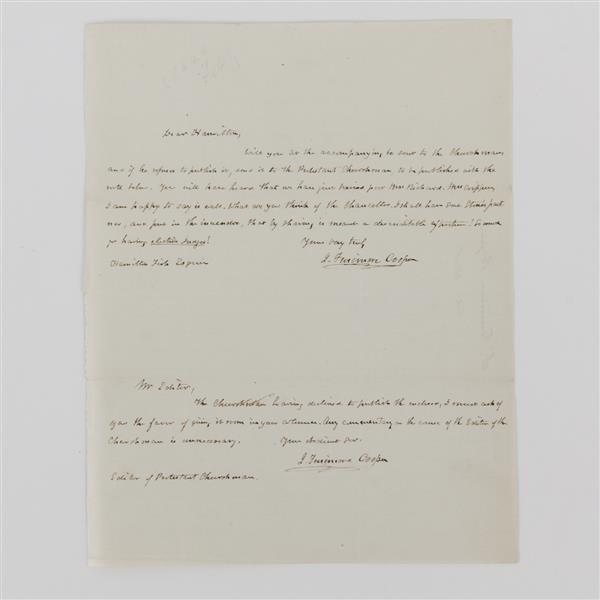 James Fenimore Cooper double signed handwritten letter to Hamilton Fish