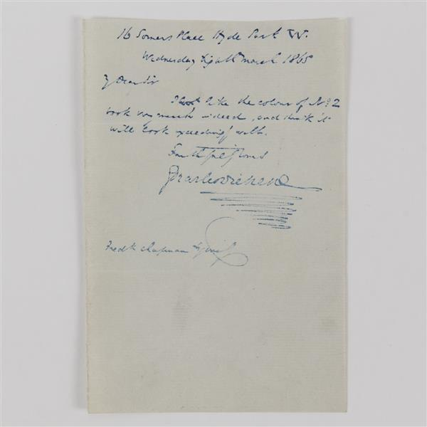 Charles Dickens Signed Note 1865