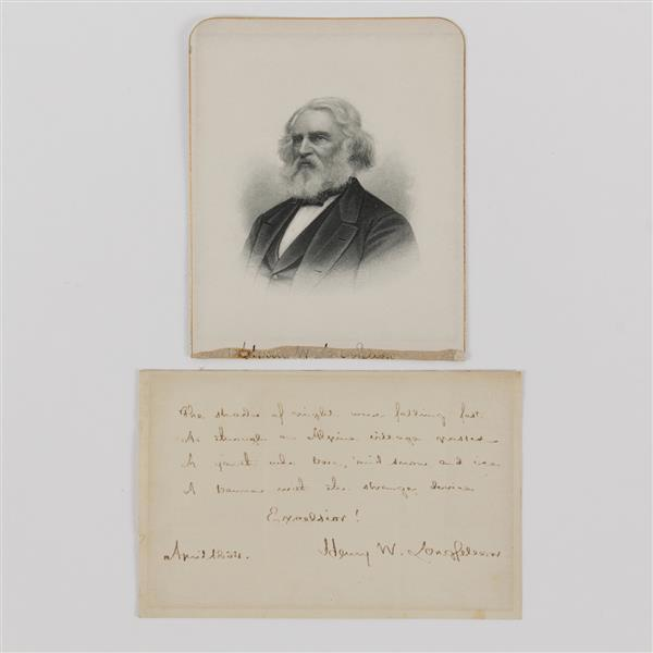 Henry Longfellow, handwritten letter and signed poem.