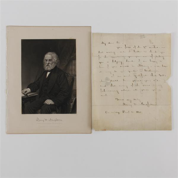 Henry W. Longfellow, handwritten letter and signed engraving