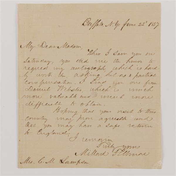 Millard Fillmore signed letter 1857