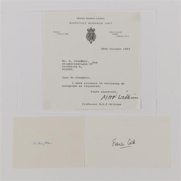 Signatures of Nobel Prize recipients Harry Crick, James Watson, and Maurice Wilkins; 1936.