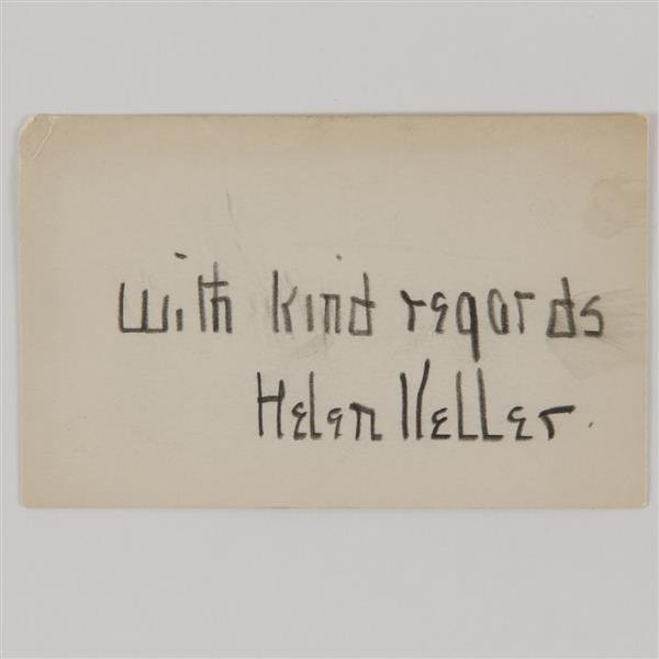 Helen Keller signature on note card.
