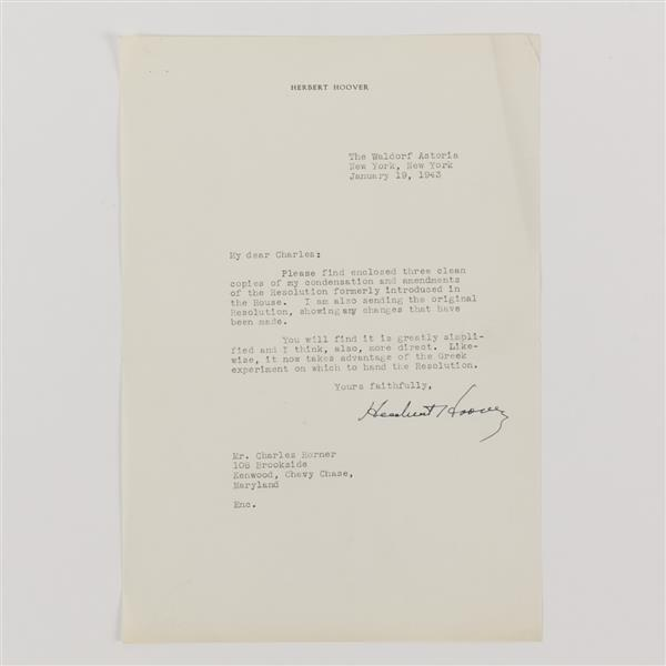 Herbert Hoover (1874-1964) signed letter; 1943.