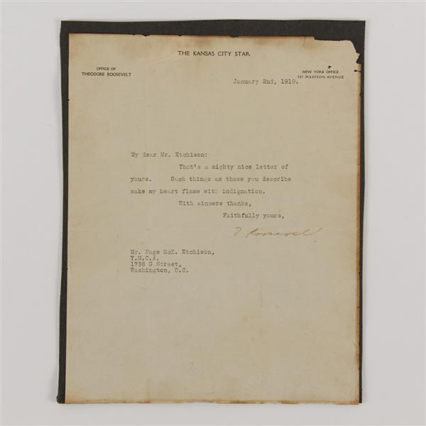 Theodore Roosevelt signed letter; 1919.