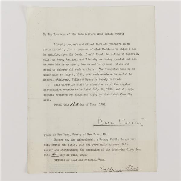 Cole Porter (1891-1964) Signature; 1938.