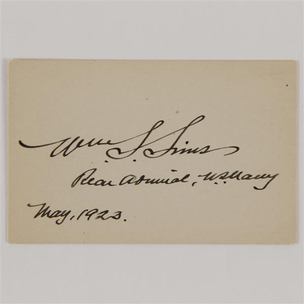 William S. Sims (1858-1936) Signature; 1923.