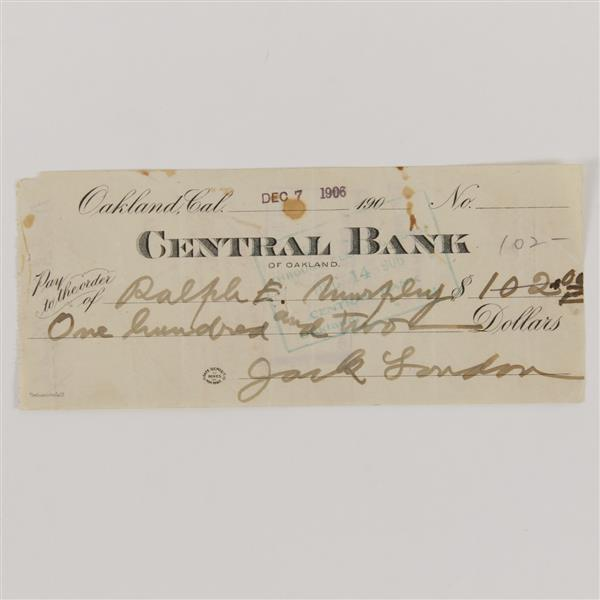 Jack London (1876-1916) Signed Check 1906.