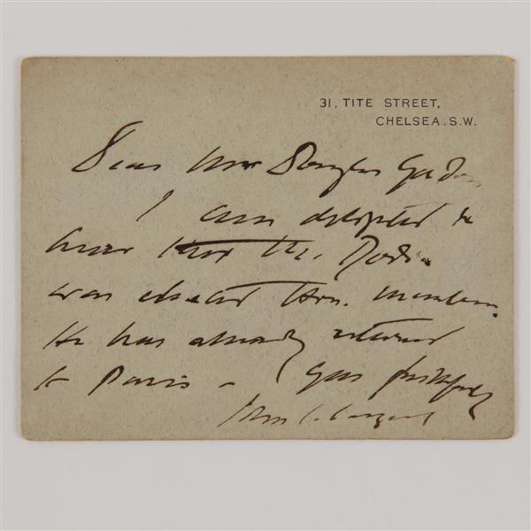 Artist John Singer Sargent handwritten postcard to Gustave Dore.