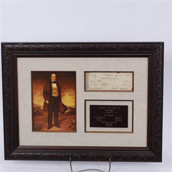Signed Check by Daniel Webster. Includes portrait & plaque mounted to frame.