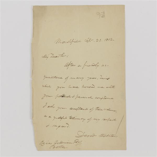 Daniel Webster Signed Letter 1853