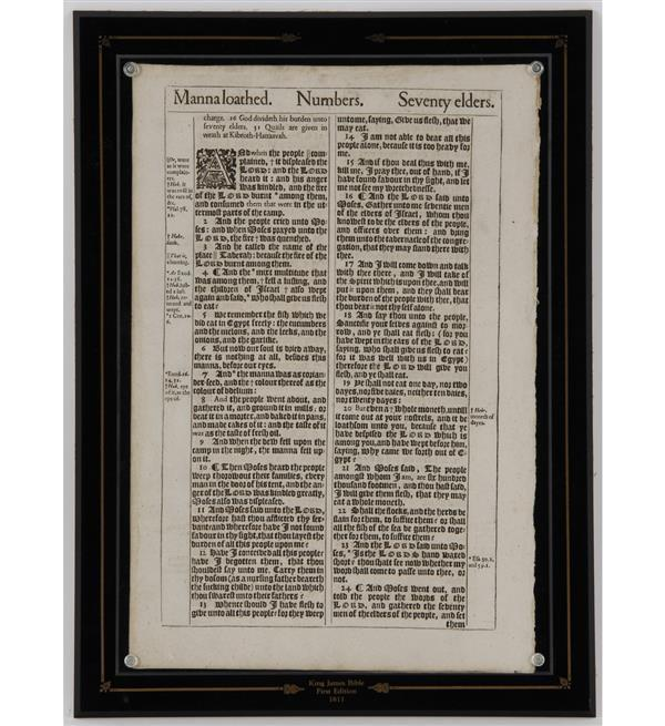 First Edition King James Bible Leaf of 1611. Includes COA.