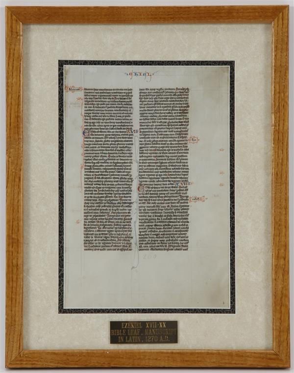 Framed Manuscript Bible Leaf Ezekiel XVII-XX in Latin; 1270.