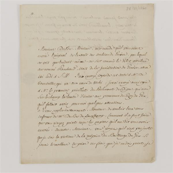 Voltaire (1694 - 1778) Letter in French- complains of unjust fees levied against him.