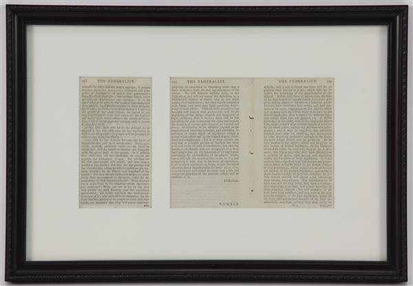 Three framed pages from The Federalist