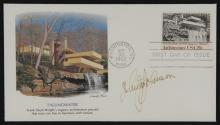 Frank Lloyd Wright Post Card Signed by American Architect Philip Johnson.