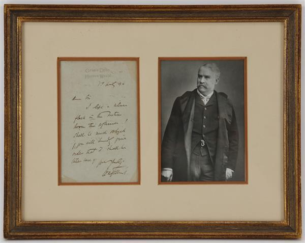 Sir William Schwenck Gilbert, English Librettist, (1836 –1911) Framed handwritten letter dated 1894 with photo.
