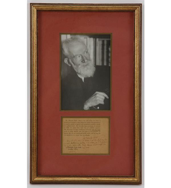 George Bernard Shaw (1856-1950) Irish Playwright, Nobel Prize winner for Literature, 1925; signature and handwritten note