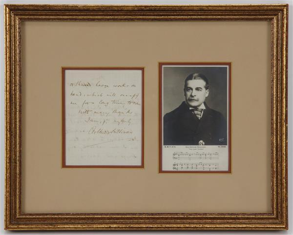 Sir Arthur Sullivan (1842-1900) English Composer, Handwritten Note & Signature framed with photo,
