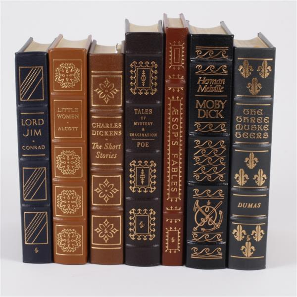 Lot of 7 classic leather bound books; Incl. Charles Dickens, Edgar Allan Poe, Joseph Conrad, Louisa May Alcott, Munro Leaf...