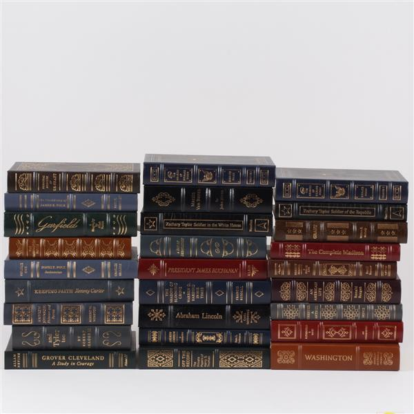 Lot of 27 volumes Easton Press leather bound American Presidents Series books.