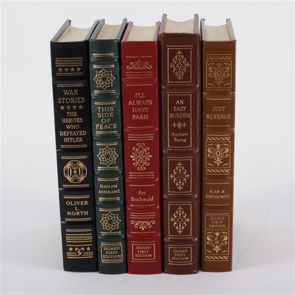 Lot of 5 books: Alan M. Dershowitz, Art Buchwald, Hanan Ashrawi, Andrew Young, & Oliver L. North.