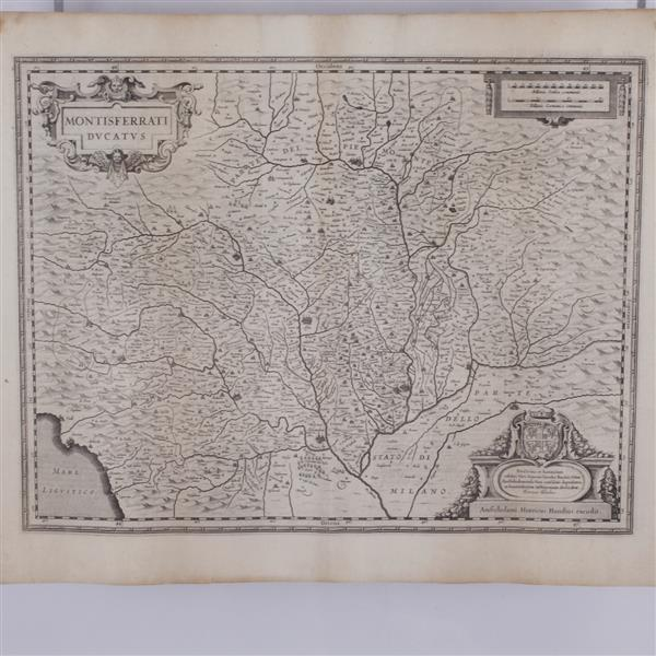Henricus Hondius: Montisferrati Ducatus. Map of Northern Italy Etching