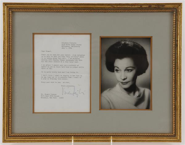 Vivien Leigh Signed Typed Letter with photo.