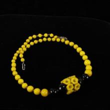 Art Deco Floral Necklace with yellow and black Czech glass beads