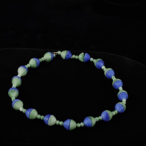 Blue & Green Art Deco Necklace with Czech glass beads