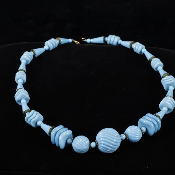 Art Deco Necklace with light blue opaque Czech glass beads