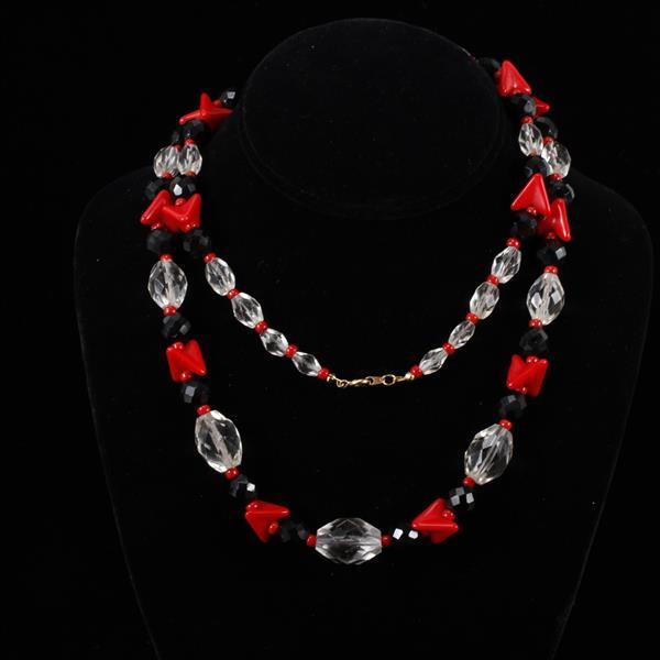 Art Deco Necklace with Red & Black Czech Glass Beads