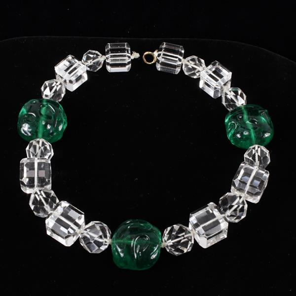 Art Deco Chunky Choker Necklace with crystal and emerald glass beads.