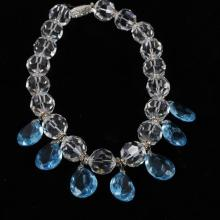 Art Deco Chunky Crystal Choker Necklace with blue teardrop prisms.