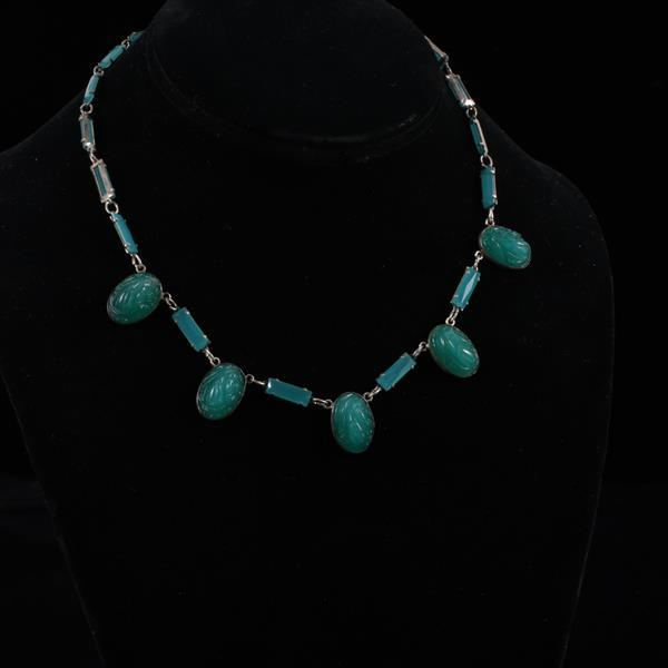 Czech Art Deco Jade Green Glass Necklace