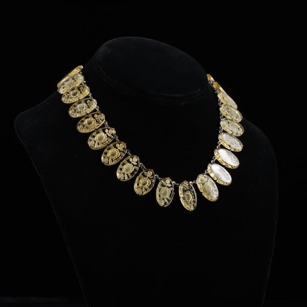 Bohemian intaglio cut crystal Art Deco necklace