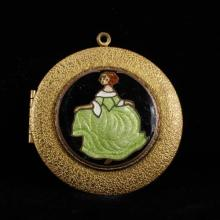 French enamel figural locket