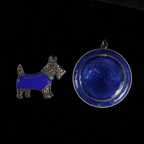 French enameled scotty dog pin and locket