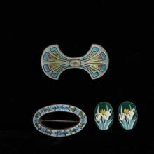 French enamel 3pc. Sterling silver clip earring & 2 brooch pins.
