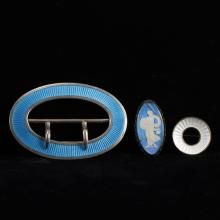 French enamel 3pc Sterling Brooch Pins