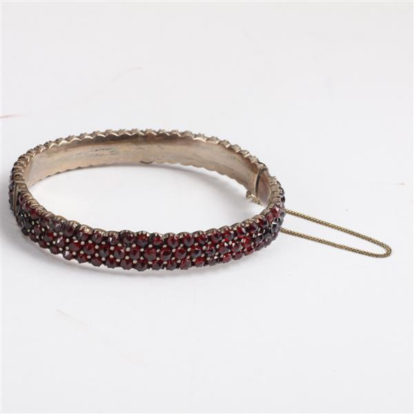 Victorian 3 row garnet hinged bangle bracelet.