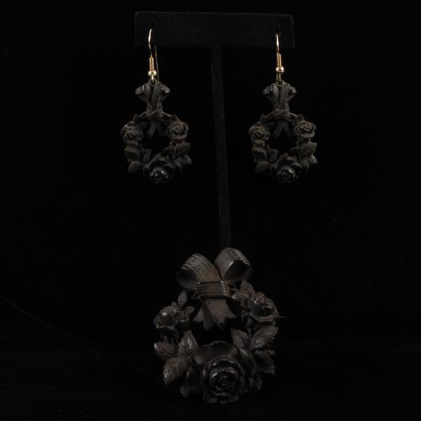 Victorian carved vulcanite mourning? jewelry set; floral wreath and matching earrings.
