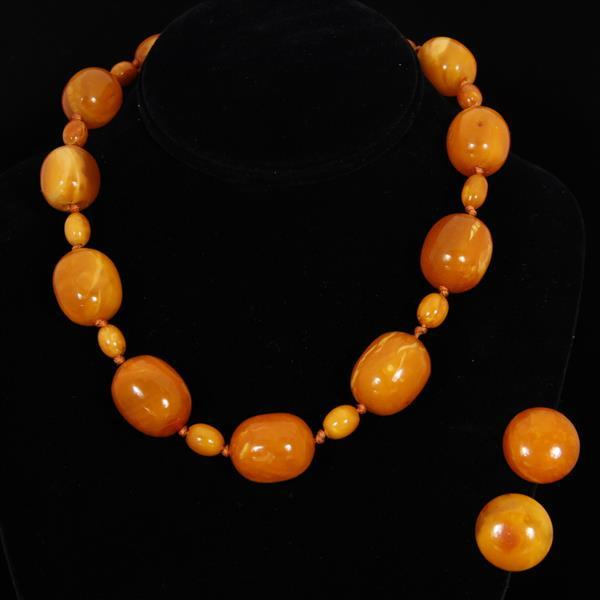 Amber beaded necklace and earrings